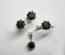 Natural Black Diamond In Set